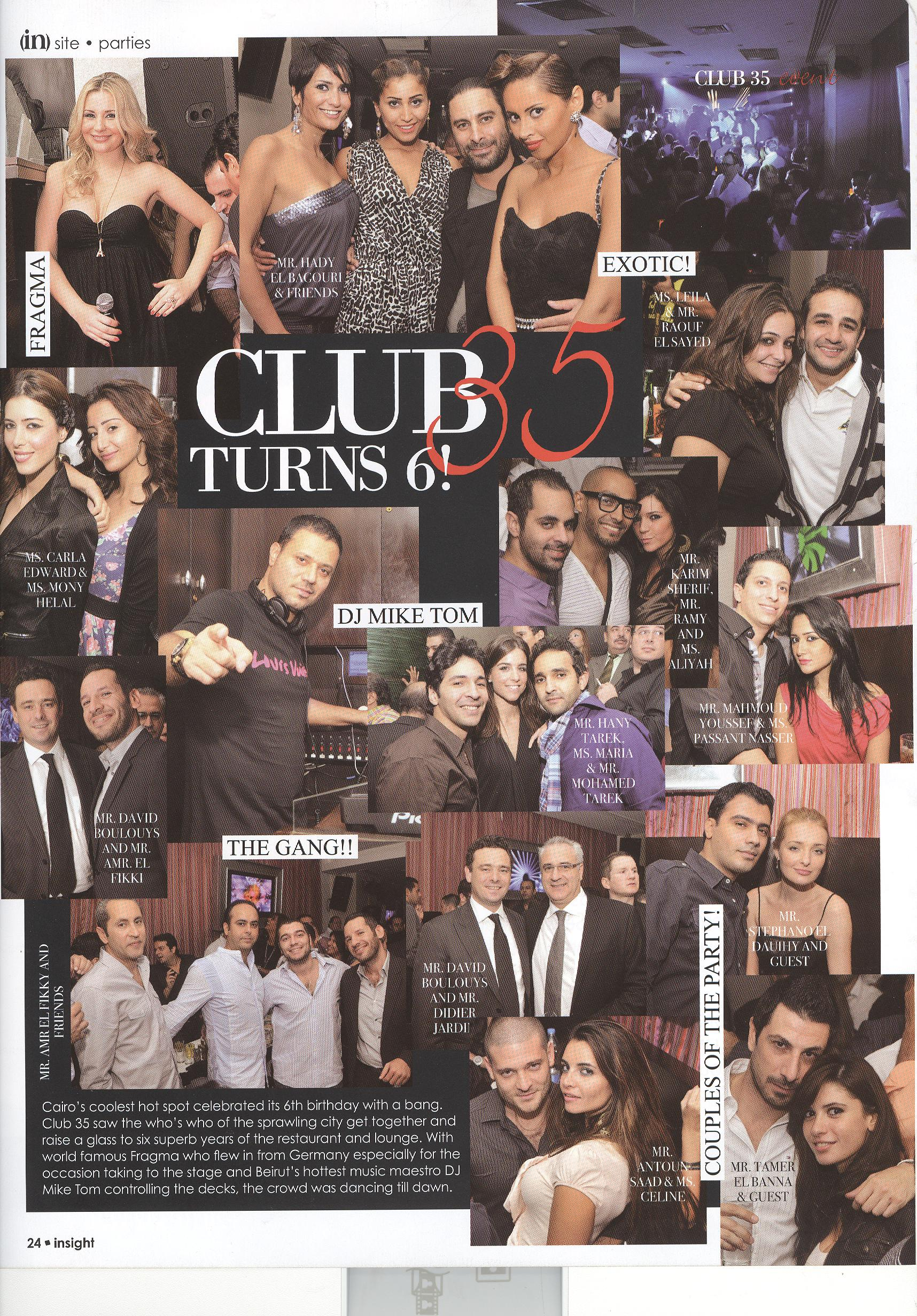 Club 35 anniversary in insight mag.